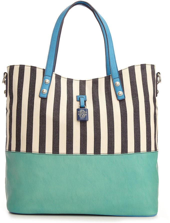 Playful stripes, paired with a sleek, contrasting bottom.  Jessica Simpson Handbag Getaway Tote ($88)
