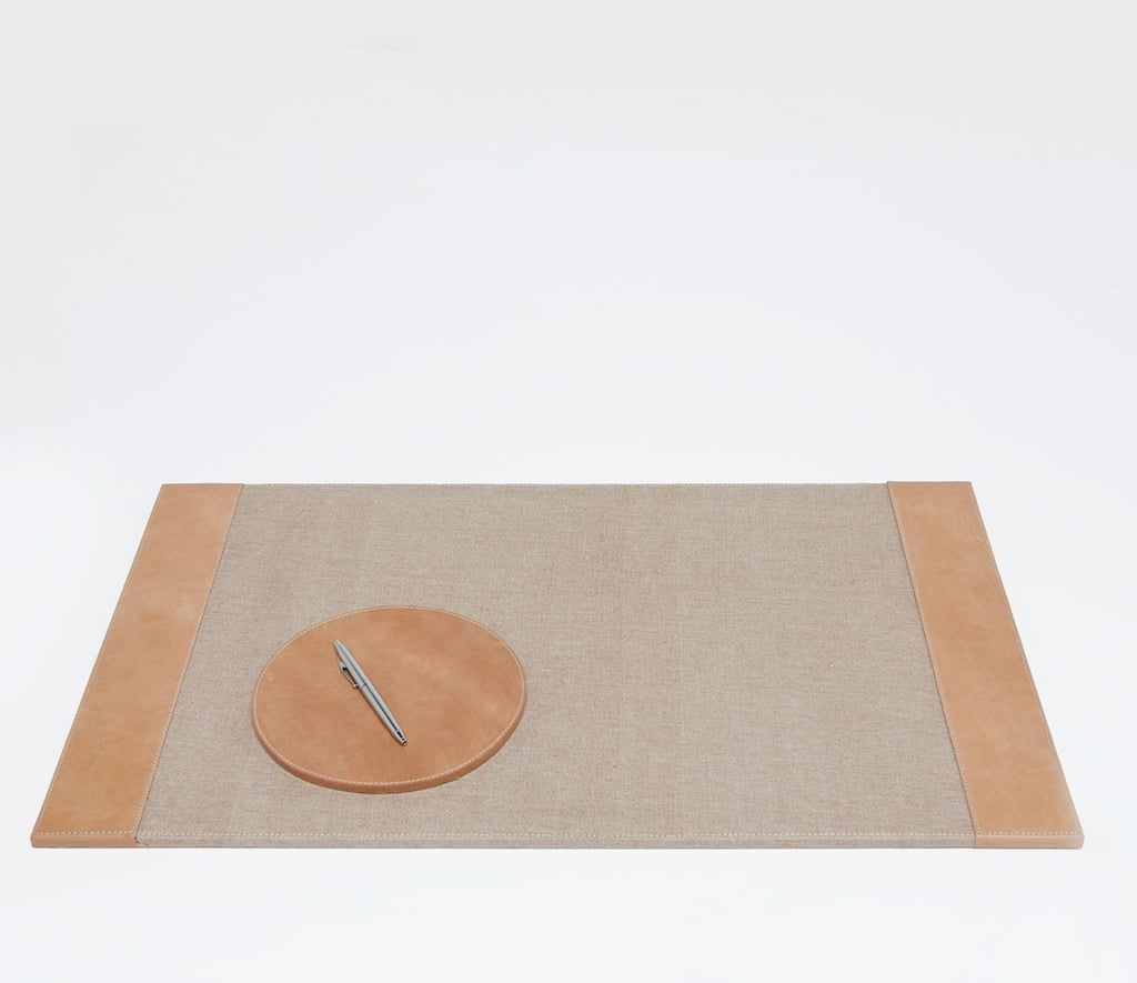 Pigeon & Poodle Leon Desk Blotter & Mouse Pad Set in Caramel Leather ($176)
