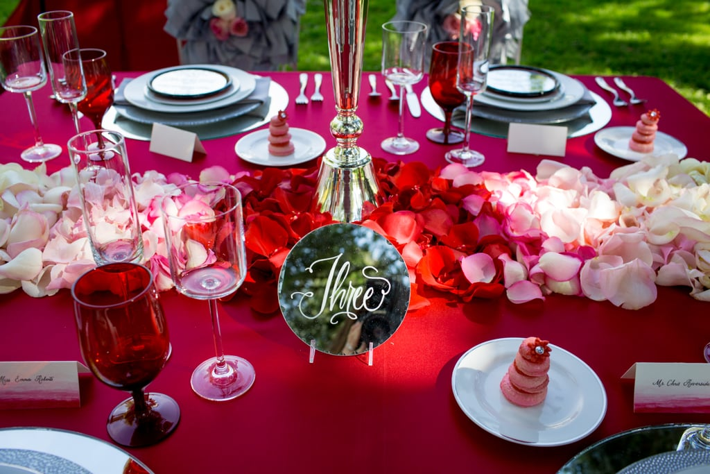 Use a stunning deep-red tablecloth.