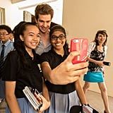 He snapped selfies with fans at a Singapore school in March 2014.