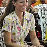 Kate picked up a pair of Azuni London earrings (seen here) from her favorite department store, Peter Jones, for $35. She wore them in Tuvalu, to a friends' wedding, and on a shopping trip to Chelsea. On the same tour of Asia, she also wore a pair of $52 Seretta coral earrings from the website My Flash Trash for dinner in the Solomon Islands.