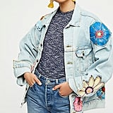 Free People Specialty Floral Denim Jacket