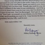 Hillary Clinton's Amazing Response to a Girl Who Wants to Change Her Name to