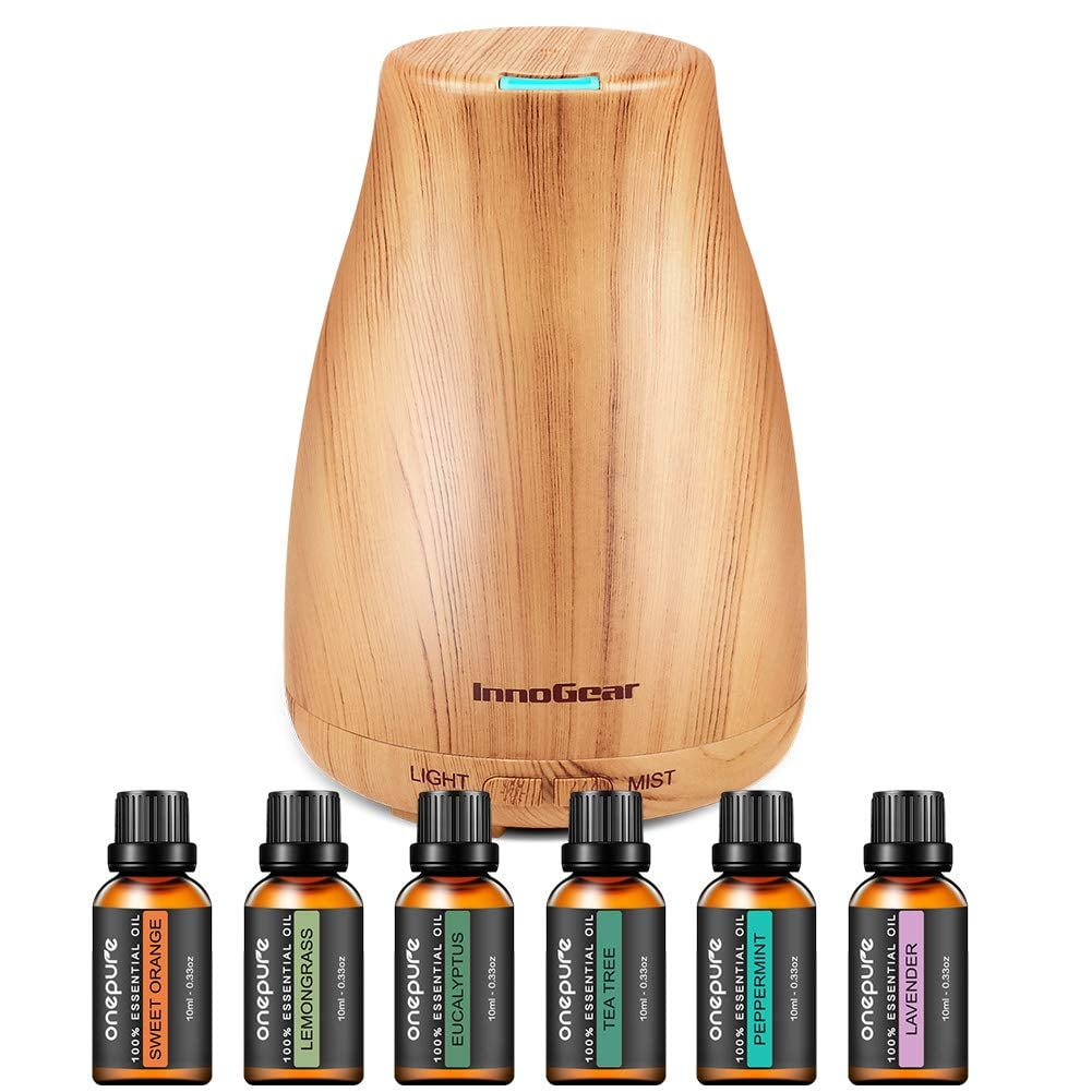 InnoGear Upgraded Aromatherapy Diffuser @ith 6 Bottles of Essential Oils