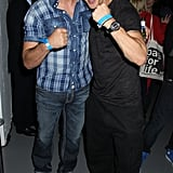 Doing his best boxing pose with Joe Calzaghe at an Xbox party in 2010.