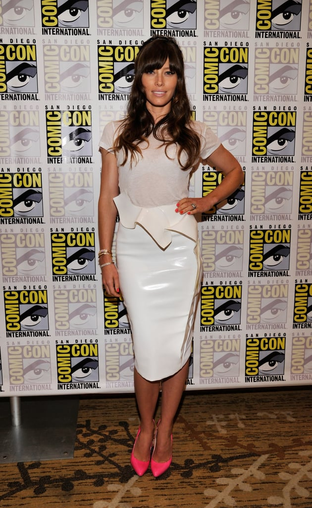Jessica's bright, neon-pink Brian Atwood pumps punched up an already slick Thierry Mugler PVC pencil skirt and semisheer Joe's Jeans t-shirt at Comic-Con.