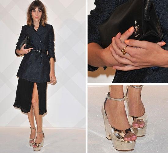 Pictures of Alexa Chung at Burberry's Paris Store Opening Party at the British Embassy: See Her Navy Ensemble Up Close!