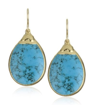 "A clever way to get your something-blue on.  Devon Leigh ""Nature's Wonders"" Turquoise-Color Howlite in 24k Gold Foil Earrings ($315)"