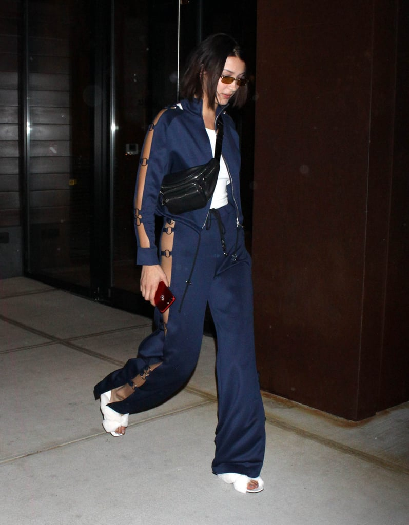 Bella Hadid Wore a Leo by Leo Sheer-Paneled Tracksuit