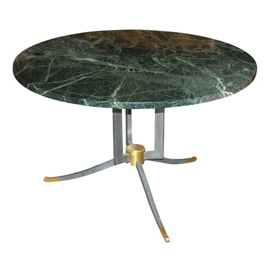 Jules Leleu Round Steel and Gilt-Bronze Coffee Table