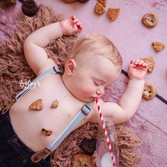 Photos of Baby Asleep During Milk and Cookies Birthday Shoot