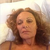A pooped Diane von Furstenberg crashed into bed after a long day. Source: Instagram user dvf