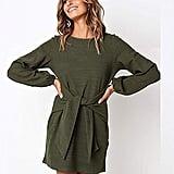 PRETTYGARDEN Short Sleeve Sheath Belted Dress
