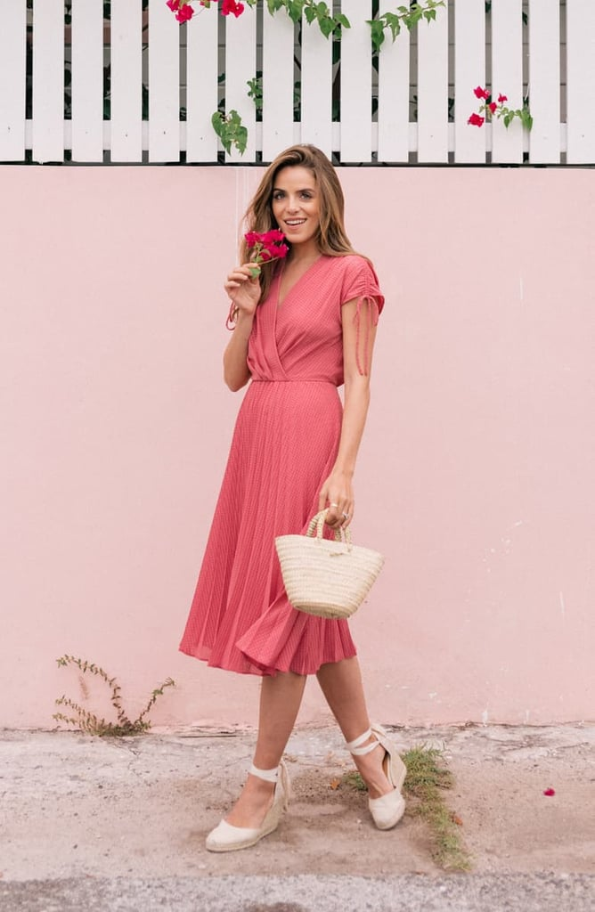 Gal Meets Glam Collection Pleated Ruched Shoulder Dress