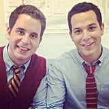 Skylar Astin returns! Costar Ben Platt shared this picture of their first day filming on the set. Source: Twitter user BenSPLATT
