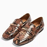 Topshop Lorenzo Snake Square-Toe Loafers