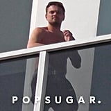 Leonardo DiCaprio went shirtless on the balcony of his Miami hotel.  Source: Coleman-Raynor