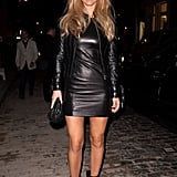 Bar Refaeli layered her leather at a cocktail party recently, topping a Versace minidress with a fitted leather jacket. Talk about more bang for your buck!