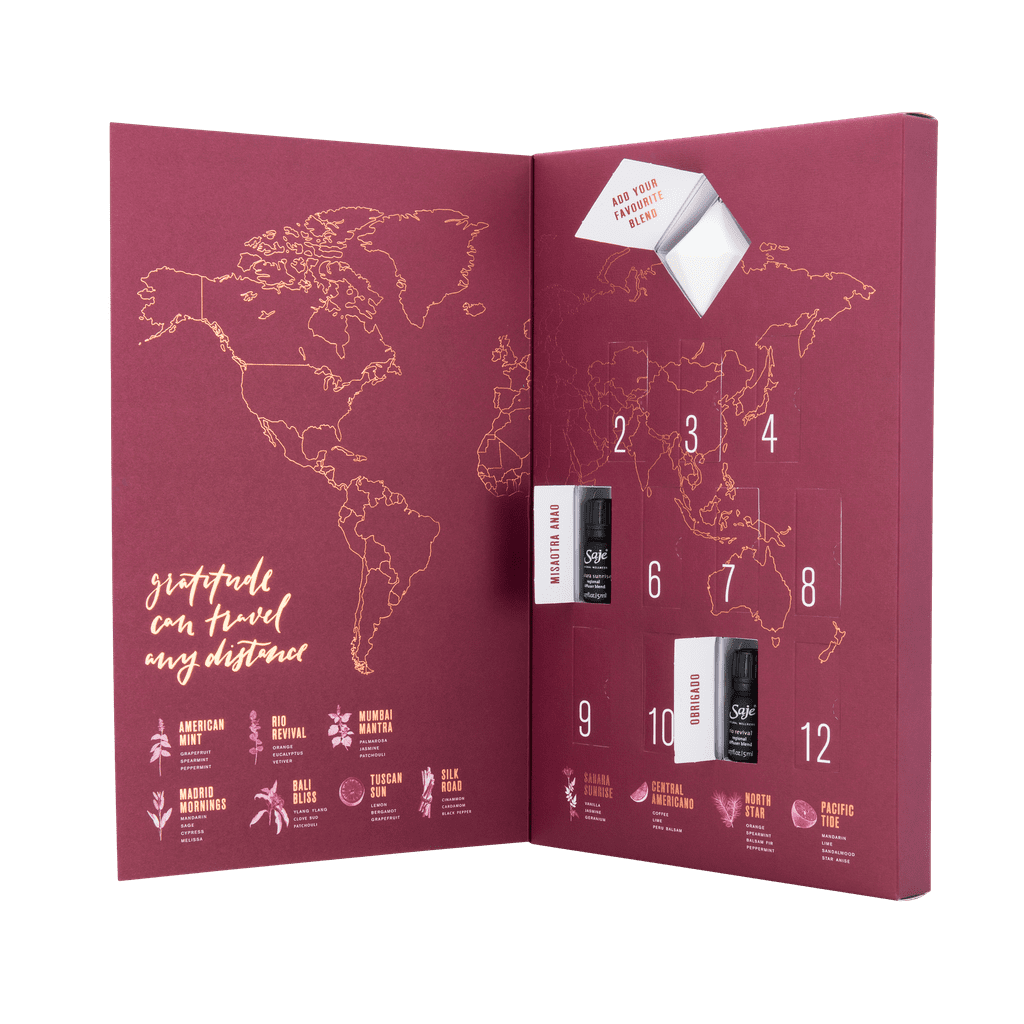 "Forget chocolates, socks, and sex toys — we want an advent calendar that's all about our wellness. And lucky for us, Saje released just the thing we're looking for this season. The 12 Days of Wellness Advent Calendar ($110) is stocked with bottles of essential oils made with ingredients from all over the world.  ""Blended with ingredients grown natively in each region, these limited edition blends celebrate the vibrancy of our diverse planet,"" says Saje. ""Let's show gratitude for the world that we live in and all that it has to offer."" Each of the 12 items is a unique combination of oils — you can check out the different types that are included ahead (11 are shown because the 12th bottle is a surprise!). The bottles come in beautiful packaging, making the advent calendar a perfect gift for anyone in your life who is working on their wellness!      Related:                                                                Your Home Will Become a Spa-Like Oasis With These Aromatherapy Essentials                                                                   9 Essential Oils I'm Completely Addicted To"
