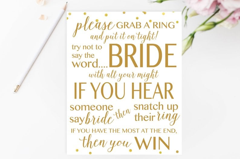 graphic regarding Printable Bridal Shower Games called Dont Say Bride Printable Bridal Shower Sport Printable
