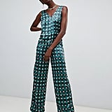 Pieces Check Polka-Dot V-Neck Jumpsuit