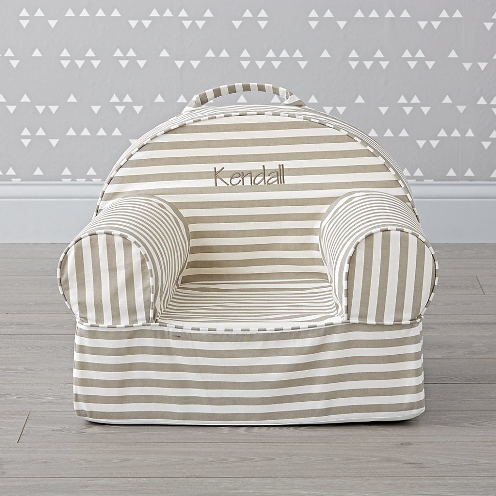 For 1 Year Olds Small Personalized Gray Stripe Nod Chair