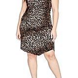 Rachel By Rachel Roy Leopard Print Asymmetrical Drape Dress