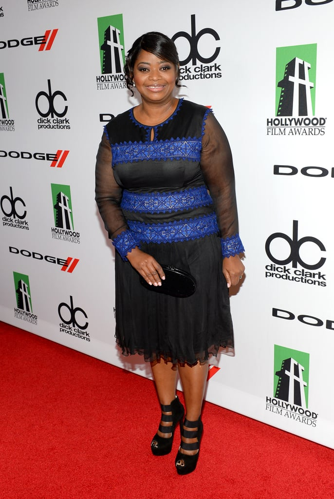 Octavia Spencer was in great spirits when she posed for photos on the Hollywood Film Awards red carpet.