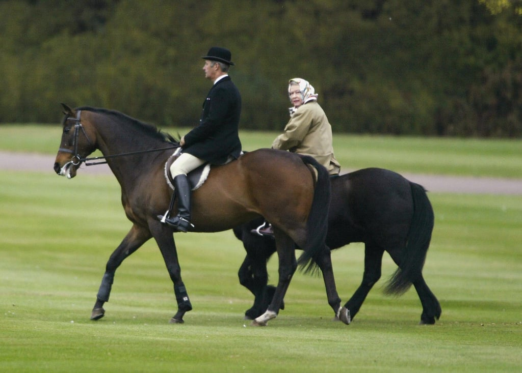 The Queen enjoyed a morning horse ride around the grounds of Windsor Castle in Apr. 2003.
