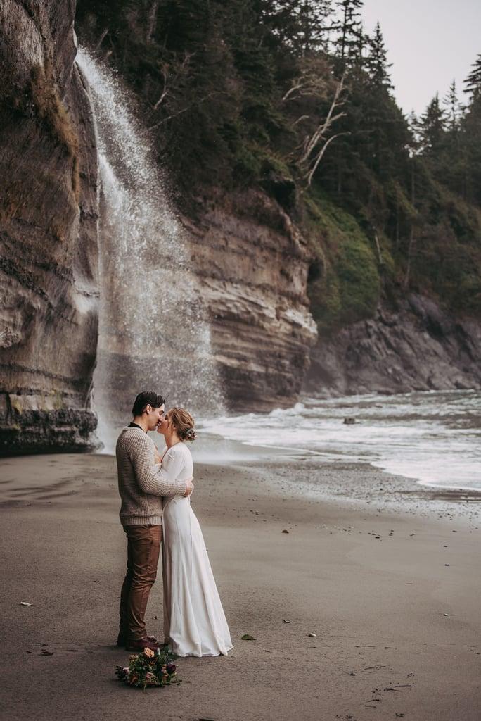 Adventurous Waterfall Elopement at Mystic Beach