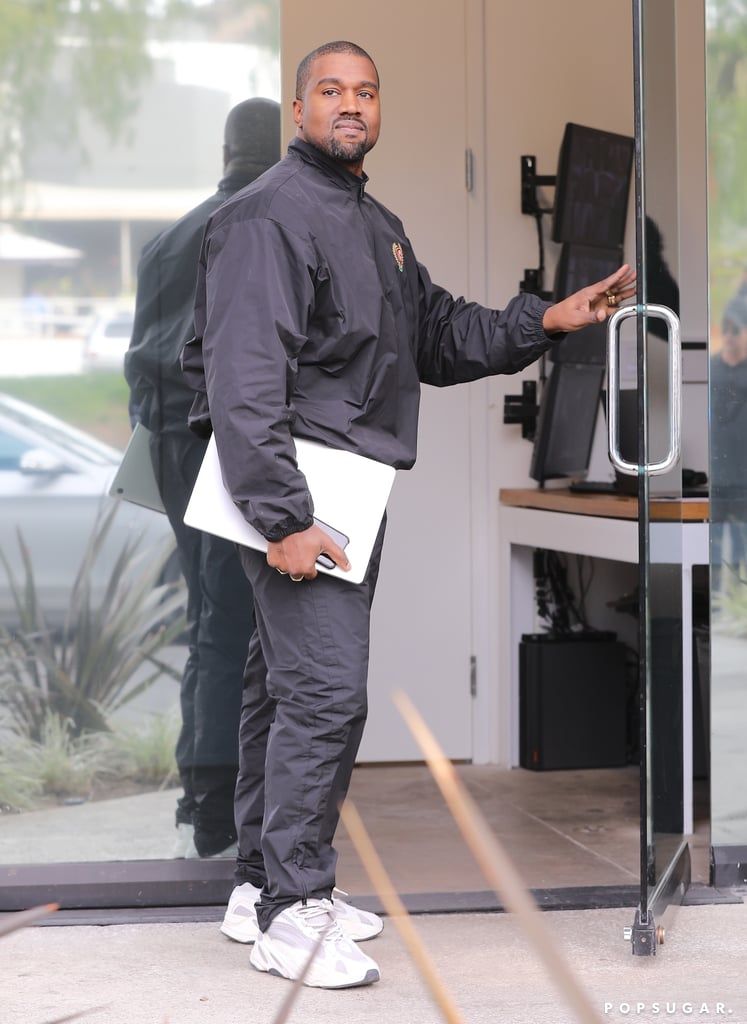 "Kanye West appeared to be in good spirits when he was spotted arriving at his office in Calabasas, CA, on Tuesday afternoon. The rapper, who has a habit of not smiling for pictures, flashed a rare smile before heading inside. Kanye and Kim Kardashian welcomed their third child, a baby girl, via surrogate on Monday, so that's likely the reason for his smile.  While the couple has yet to disclose the baby's name, Kim announced the arrival of their daughter on her website. ""Kanye and I are happy to announce the arrival of our healthy, beautiful baby girl,"" Kim wrote. ""We are incredibly grateful to our surrogate who made our dreams come true with the greatest gift one could give and to our wonderful doctors and nurses for their special care. North and Saint are especially thrilled to welcome their baby sister."" Congrats to Kanye and Kim on their growing family!      Related:                                                                                                           Warning: You're Not Ready For These 100+ Adorable Snaps of Kim and Kanye's Kids"