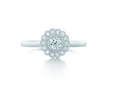 PS: Is one C more important? CM: Each C has its own importance in the diamond grading system, but when helping my clients through the design and decision process, I advise that good colour and clarity outweighs the weight (pardon the pun). It's very important to have a beautiful icy white colour and have no visible inclusions to the naked eye. Most clients will sacrifice on weight of the diamond as they believe the colour and clarity is 'quality' to them. Meaning that instead of having a larger carat weight with not the highest colour and clarity, they will more often than not opt for a smaller diamond (less weight) with a higher grade of colour and clarity. Enchant flower ring with round brilliant diamonds, $3,750, Tiffany & Co.