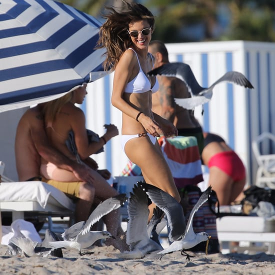 Alessandra Ambrosio Chased by Birds on the Beach in Miami