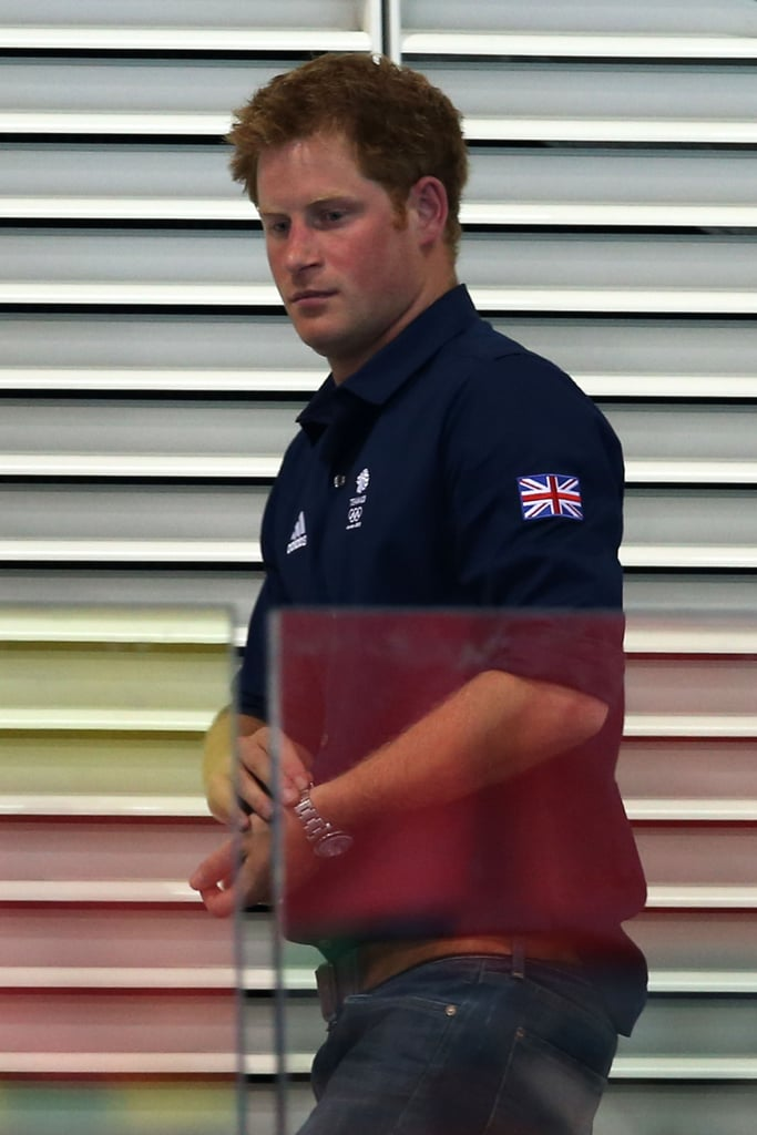 Prince Harry watched swimming at the Olympics.