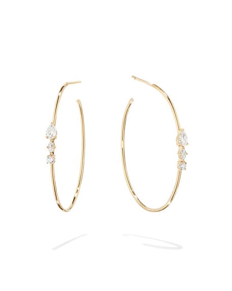 Lana Magic 14K Gold Diamond Cluster Hoop Earrings