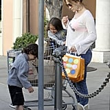 Jennifer Lopez took her twins Emme and Max shopping in LA on Friday.
