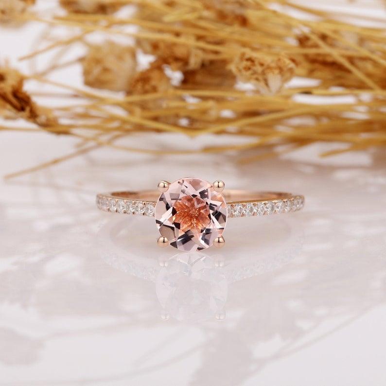 14k Rose Gold Round Cut Morganite Pave Set Engagement Ring