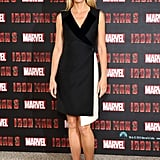 At the Iron Man 3 photocall in London, Gwyneth Paltrow was on-trend in a black-and-white Christian Dior wool dress with silk velvet detailing. She finished with two-tone ankle-strap pumps and minimal jewellery.