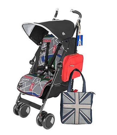 It doesn't get more British than a Maclaren stroller! In honor of the royal baby, the buggy company introduced a Prince George Techno XT StyleSet ($395), which includes the Techno XT stroller, a London-themed seat liner, an insulated pannier, a Union Jack tote bag, and a British-themed luggage tag. Perhaps we'll see the duchess pushing it around the grounds!