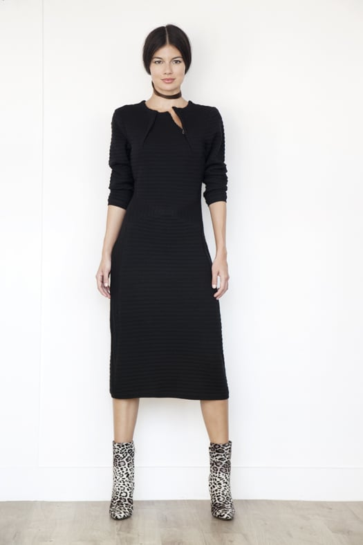 Ottoman Knit Merino Sweater Dress in Black, Soho Pony Boot in Grey Leopard. Photo courtesy of Tamara Mellon