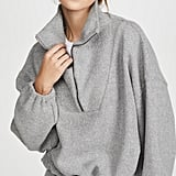 Bassike Reverse Fleece Oversized Polo Sweatshirt