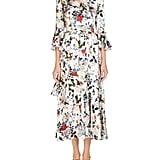 Erdem Florence Keyhole-Front Bell-Sleeve Floral-Print Silk Midi Dress