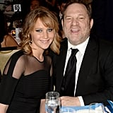 Jennifer Lawrence debuted her new haircut at the GLADD Media Awards in LA, where she hung out with Harvey Weinstein.
