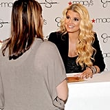 Jessica Simpson says hi to a fan in San Francisco.