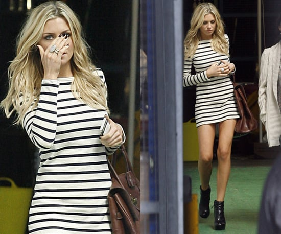 Photos of Abbey Clancy Leaving ITV in Nautical Striped Dress and Ankle Boots