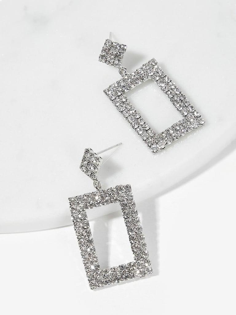 Romwe Open Rhinestone Rectangle Drop Earrings