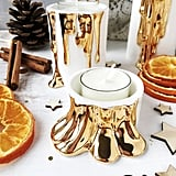 Modern White Candle Holders With Faux-Dripping Wax
