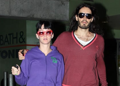 Katy Perry and Russell Brand out and about