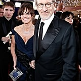 Sally Field and Steven Spielberg held hands during the Golden Globes.