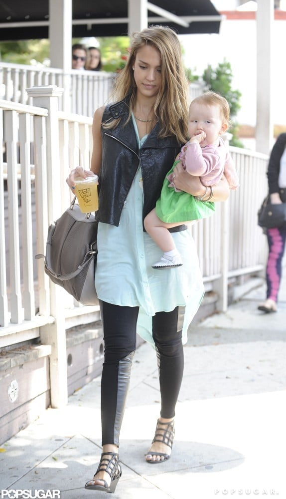Jessica Alba and daughters Haven and Honor Warren stepped out for a bite to eat in LA this morning. The ladies grabbed lunch at Le Pain Quotidien, then headed on to their next destination.  Jessica's brown locks appeared noticeably lighter after spending yesterday afternoon with celebrity hairstylist Robert Ramos. She tweeted photos from the salon and is reportedly starting the gradual transformation from brunette to blond for her upcoming role in Sin City: A Dame to Kill For. The project pairs Jessica once again with her friend and Machete Kills director Robert Rodriguez, who's been tapped to helm the follow-up to his cult classic Sin City.